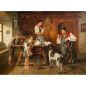 """STIERHOF, ERNST (1918-?), """"Bauernfamilie mit Hasen in der Stube"""",o.re. signiert und be"""