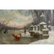 """HIRTH DU FRENES, RUDOLF (1846-1916), """"Im verschneiten Park zu Schloss Nymphenburg"""",mit"""