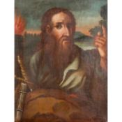 """MALER/IN des 18. Jh., """"Heiliger Paulus"""",der Heilige mit weisendem Handgestus, Schwert,"""