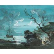 """HUET, Jean-Baptiste, ATTRIBUIERT (1745-1811), """"Küste bei Mondschein"""",mit Rastenden am"""