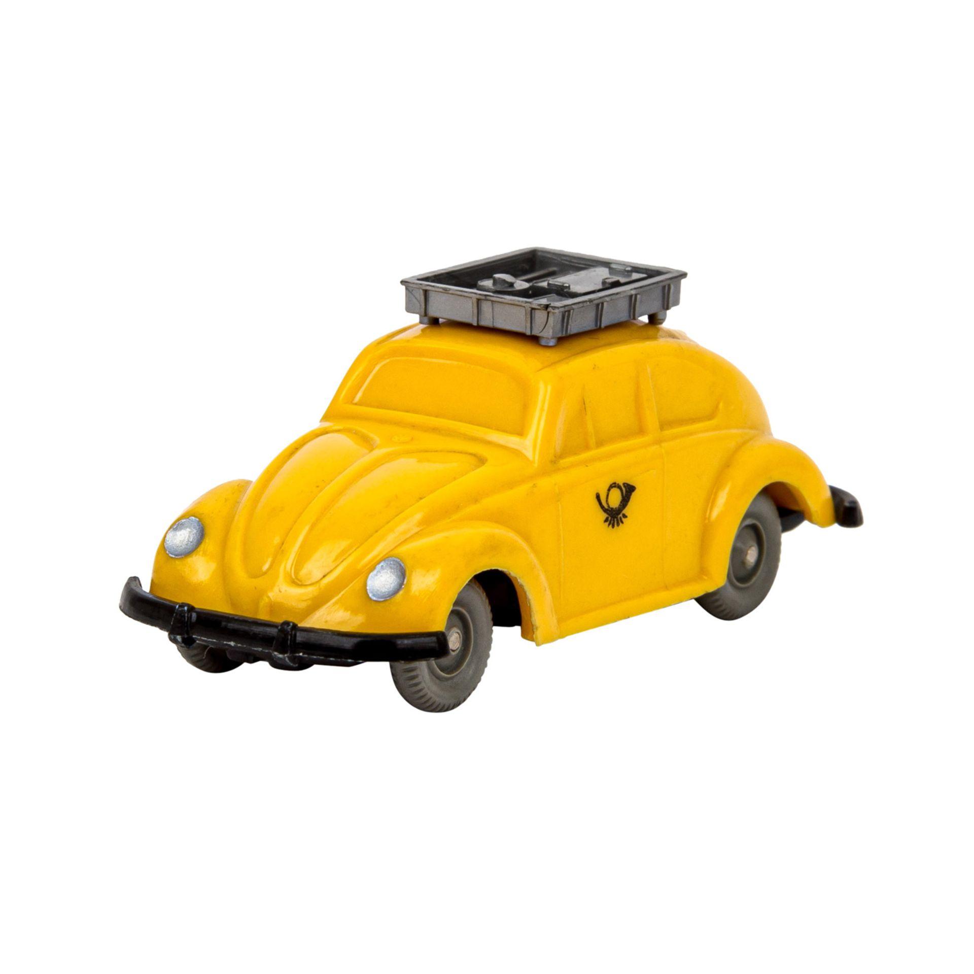 WIKING VW Käfer 'Postwagen', 1963-67,unverglaster Rollachser, gelbe Karosserie mit si