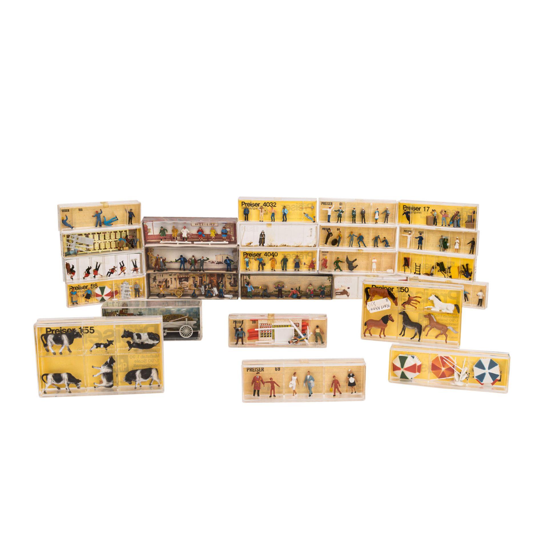 PREISER/MERTEN Konvolut von 25 Miniaturfiguren- und Zubehörsets im Maßstab H0,25 ver