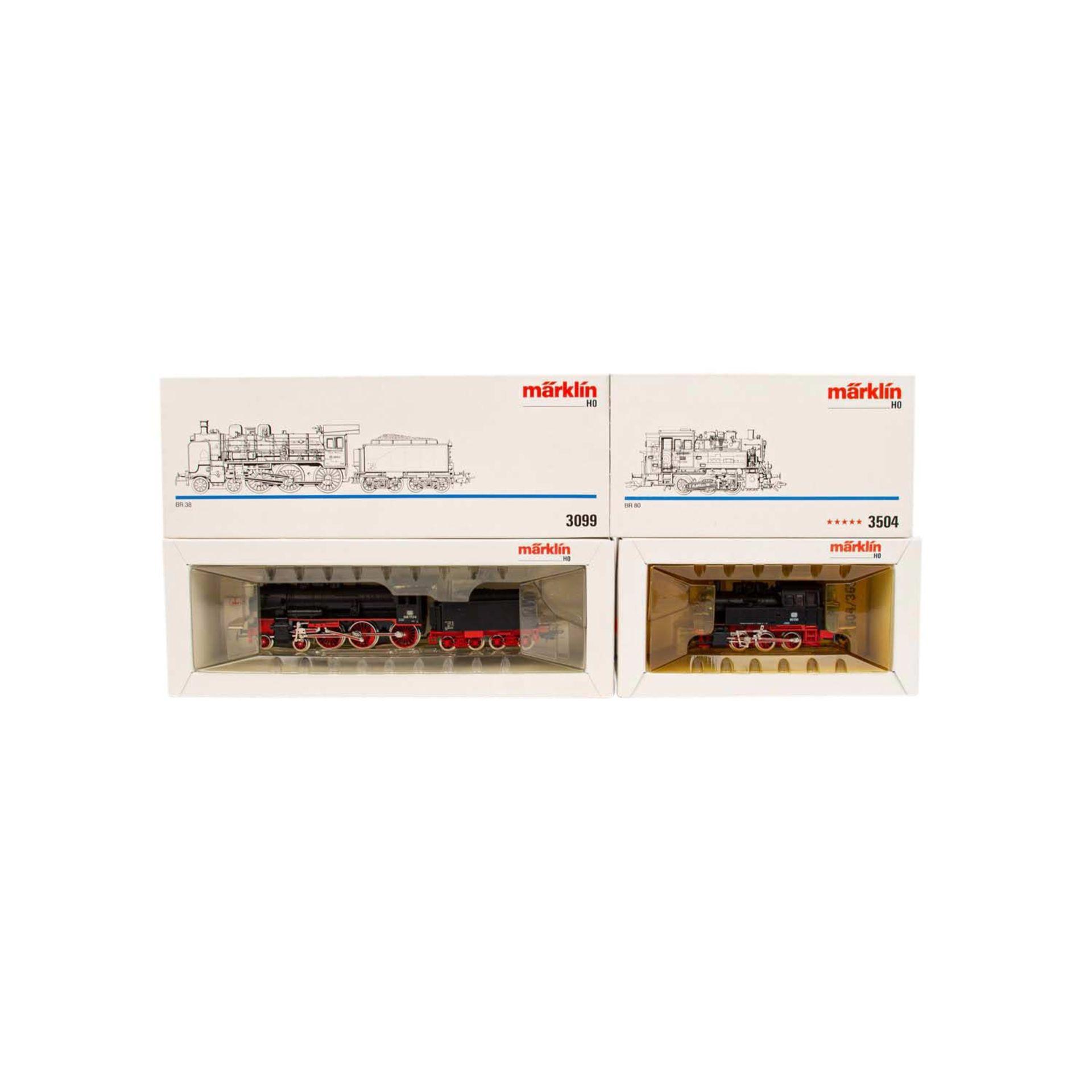 MÄRKLIN zwei Dampflokomotiven, Spur H0,bestehend aus Tenderlok 3504 der DB, BN 80 030