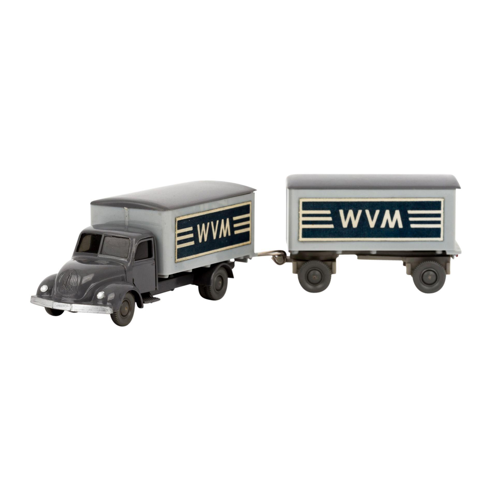 WIKING Magirus WVM, alter Koffer-LKW mit Anhänger 1961-62,LKW und Anhänger mit basal