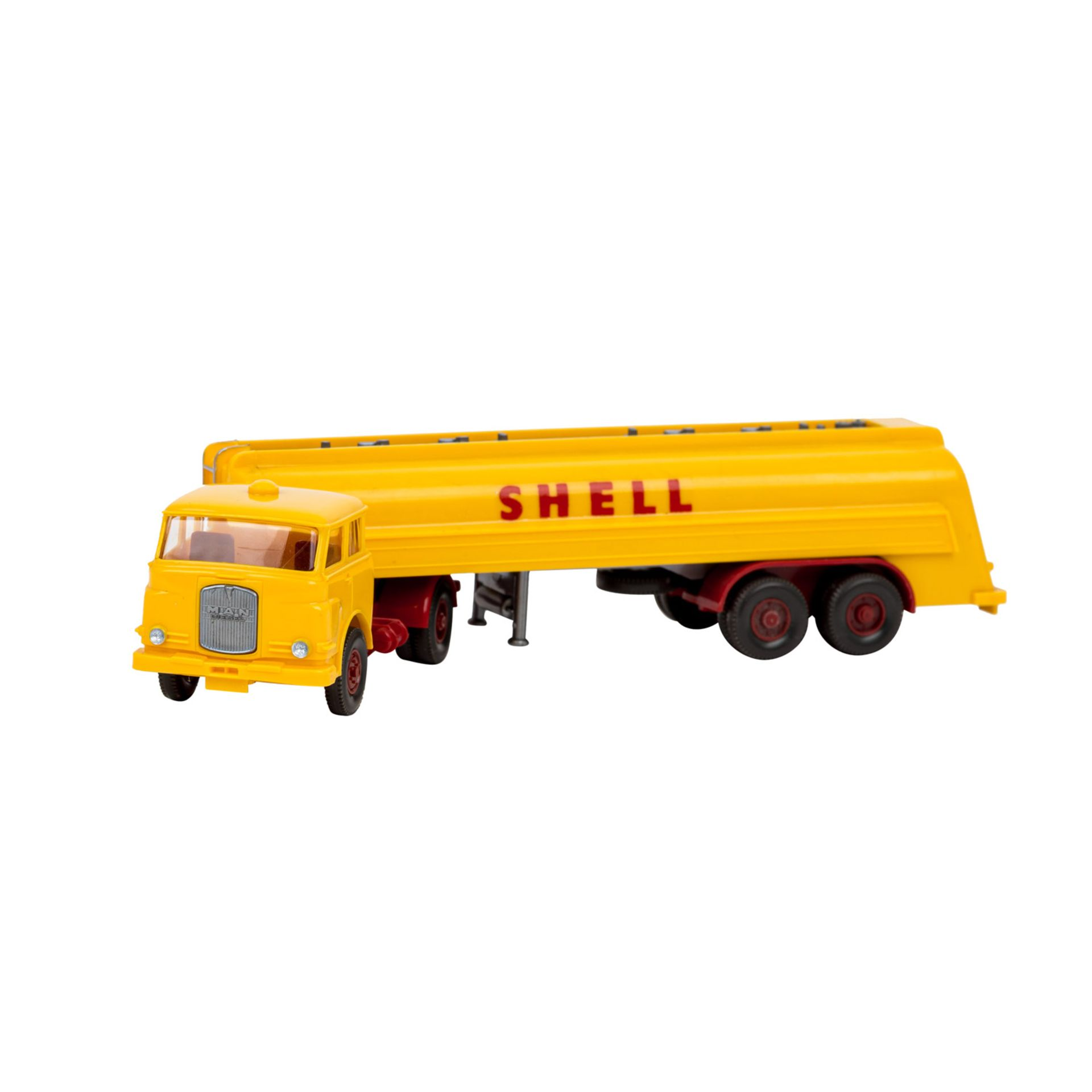 WIKING Shell-Tanksattelzug MAN 10.230, 1966,großer Shell-Tankzug, Zugmaschine mit int
