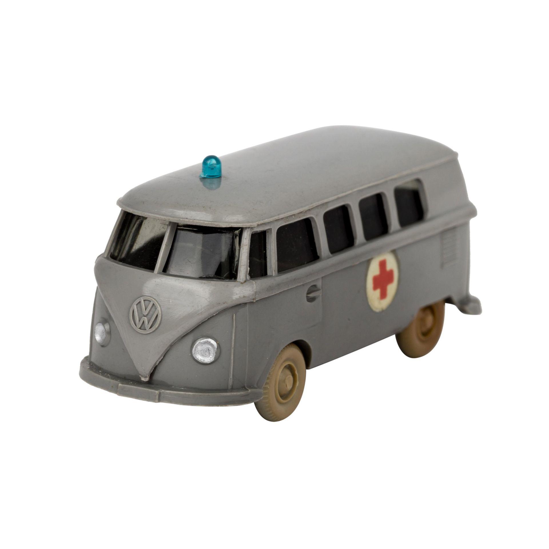 WIKING VW Bus 'T1, Rotkreuz', 1961-65,staubgraue Karosserie, 'Rotkreuz'-Emblem als Abz