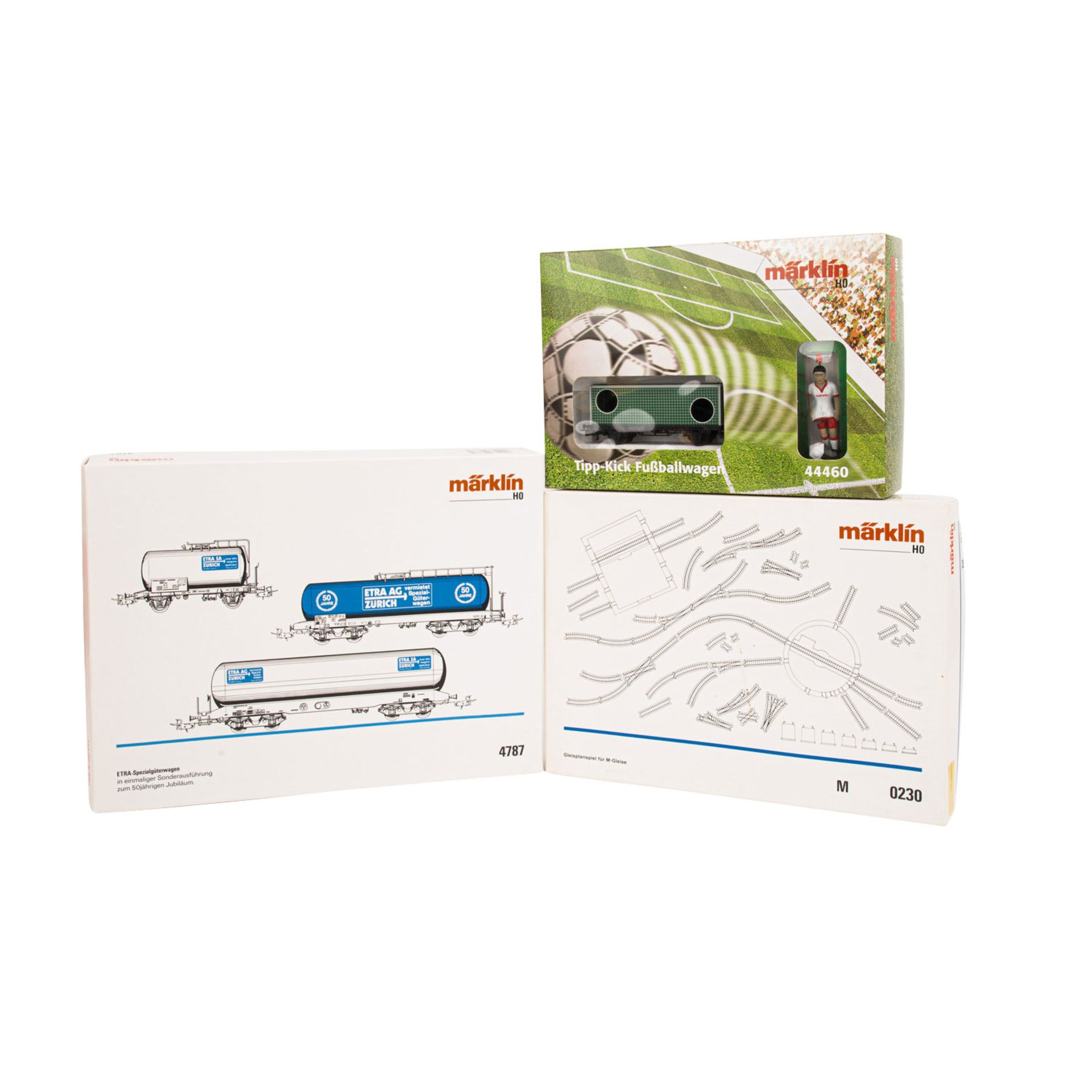 MÄRKLIN 3-tlg Konvolut, Spur H0,bestehend aus Tipp-Kick Fußballwagen 44460, 3-tlg Wa