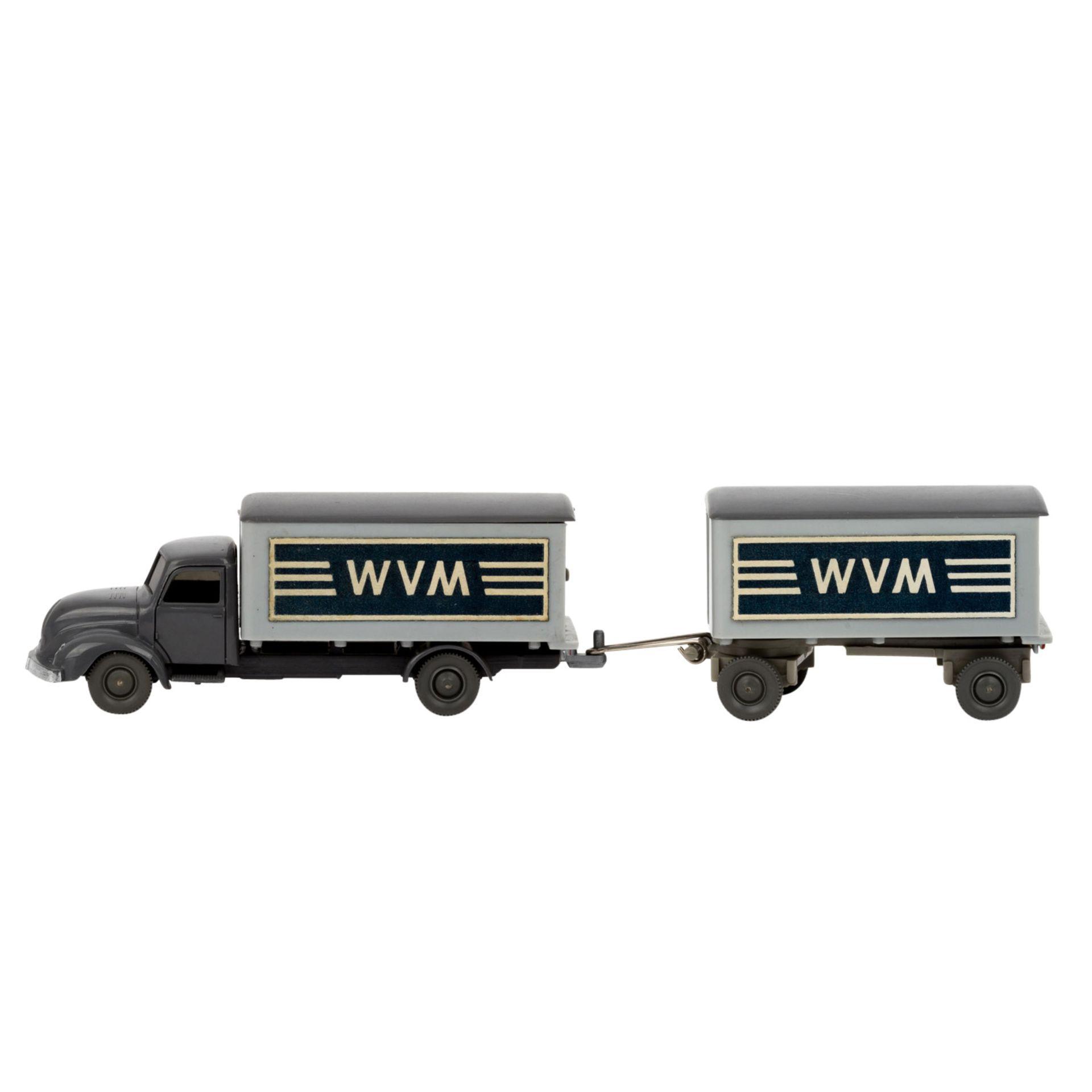 WIKING Magirus WVM, alter Koffer-LKW mit Anhänger 1961-62,LKW und Anhänger mit basal - Image 2 of 5