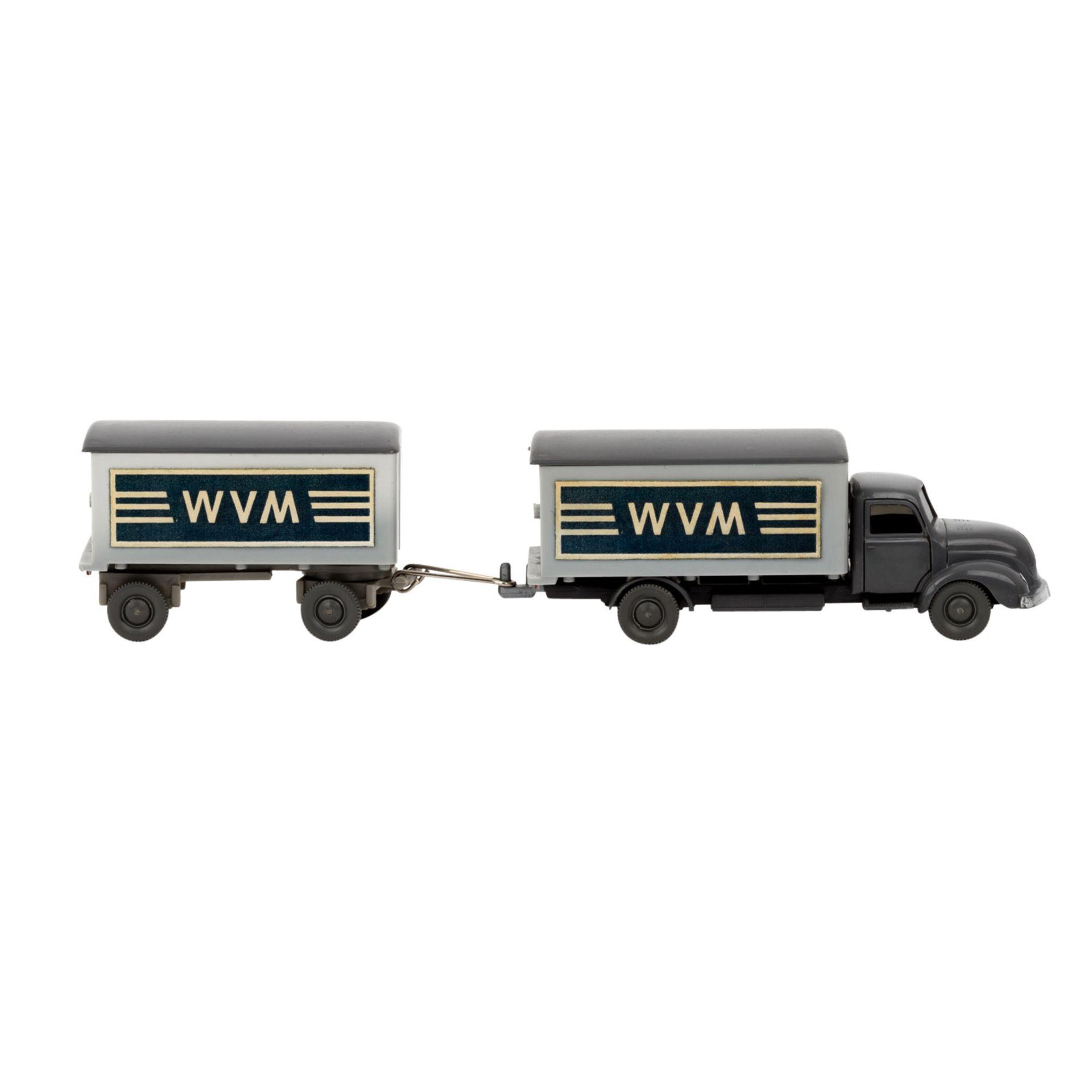 WIKING Magirus WVM, alter Koffer-LKW mit Anhänger 1961-62,LKW und Anhänger mit basal - Image 4 of 5