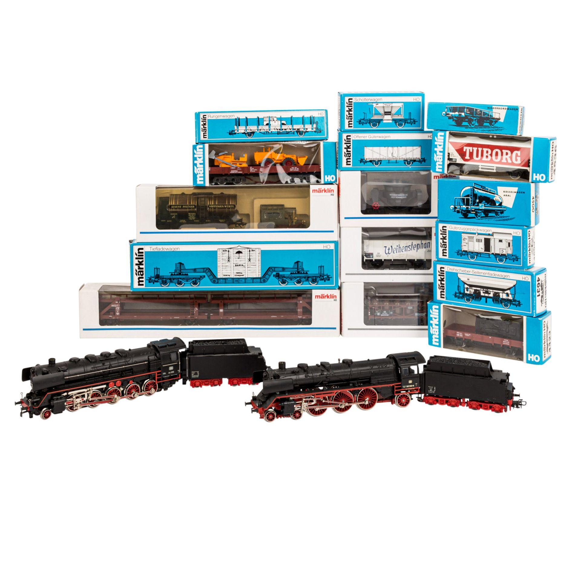MÄRKLIN Konvolut Lokomotiven und Güterwagen, Spur H0,bestehend aus zwei Schlepptende