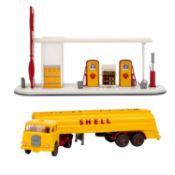WIKING Shell-Tanksattelzug MAN und Shell-Tankstelle, 1965-71,