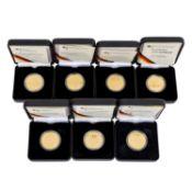 BRD/GOLD - 7 x 100 Euro zu je 1/2 Unze Gold,2002 F Währungsunion, 2 x 2004 G Bamberg,