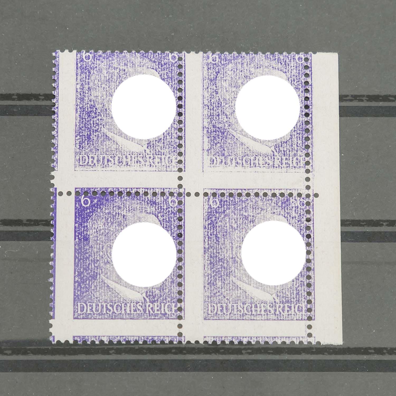 Deutsches Reich 1933/451941, Hitler, 6 Pf. blauviolett, postfrischer Viererblock mit p - Image 2 of 2