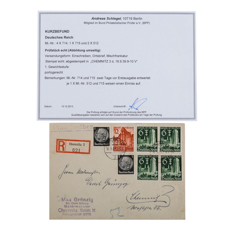Deutsches Reich 1939,absolutes Liebhaberstück. Beleg mit 4 x 714, 1 x 715, 2 x 512. P