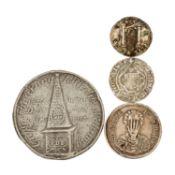 3 hist. Medaillen und 1 Münze -1 x Württemberg - Zinnmedaille 1817, Auf die Teuerung