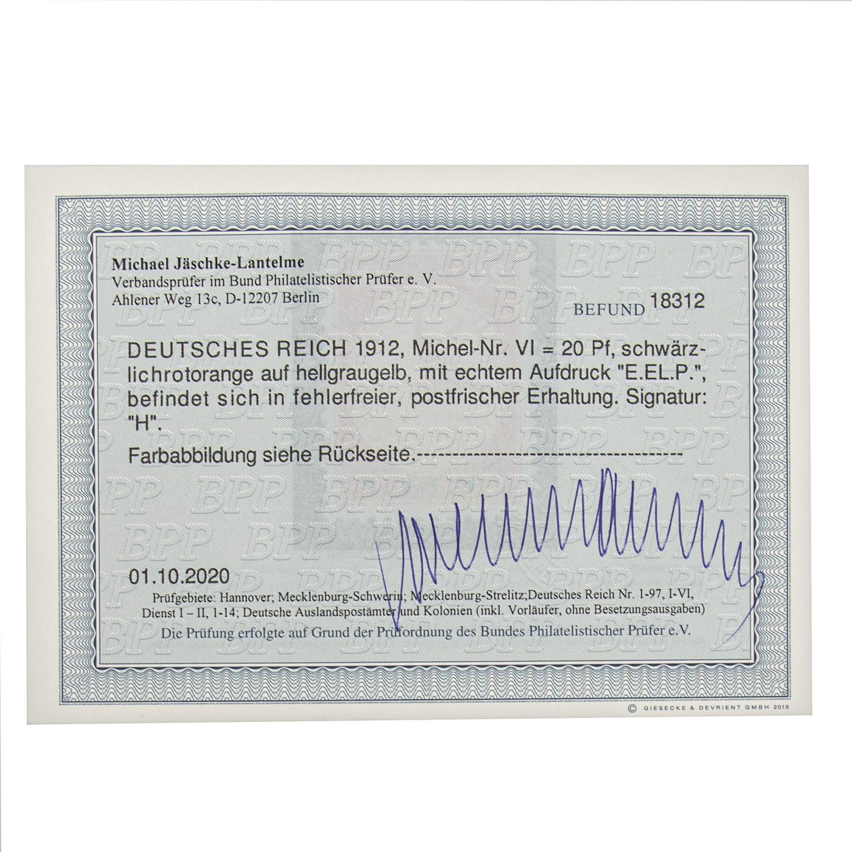 Dt. Kaiserreich 1912Mi-Nr. VI 20 Pf. mit echtem Aufdruck E. EL. P. in fehlerfreier, po - Image 2 of 2