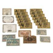 Kleines Banknotenkonvolut - Weimarer Republik, Frankreich nach der Französischen Revo