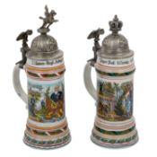 2 Andenkenkrüge nach altem Vorbild, 2. Ulanen-Regt. König Ansbach 1804-86 / 1. Jäg