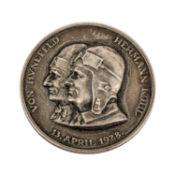 Weimarer Republik - Silbergedenkmedaille 1928, Luftfahrtpioniere von Hünefeld und Koh