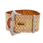 Armband mit synth. Rubinen und Diamantenim Achtkantschliff zus. ca. 1,7 ct, gute Farbe