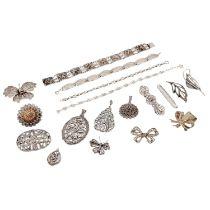 Schmuckkonvolut 18-teilig, Silber, 109 g, Händlerkonvolut bestehend aus 10 Broschen,