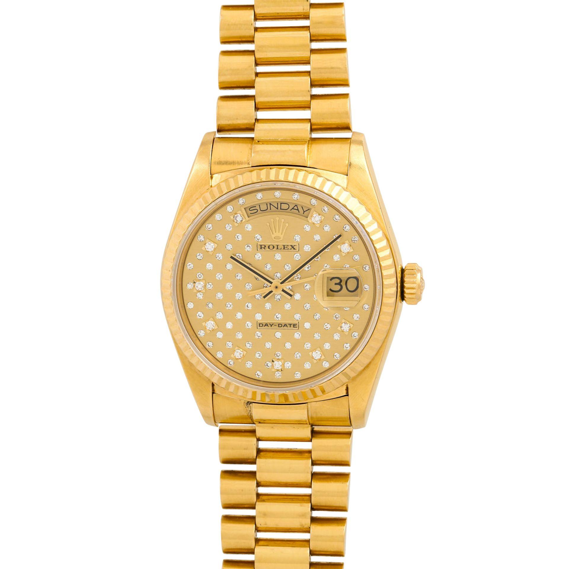 """ROLEX Vintage DayDate """"Sternenhimmel"""", Ref. 18038. Armbanduhr. Gold 18K, Ziffernblatt"""