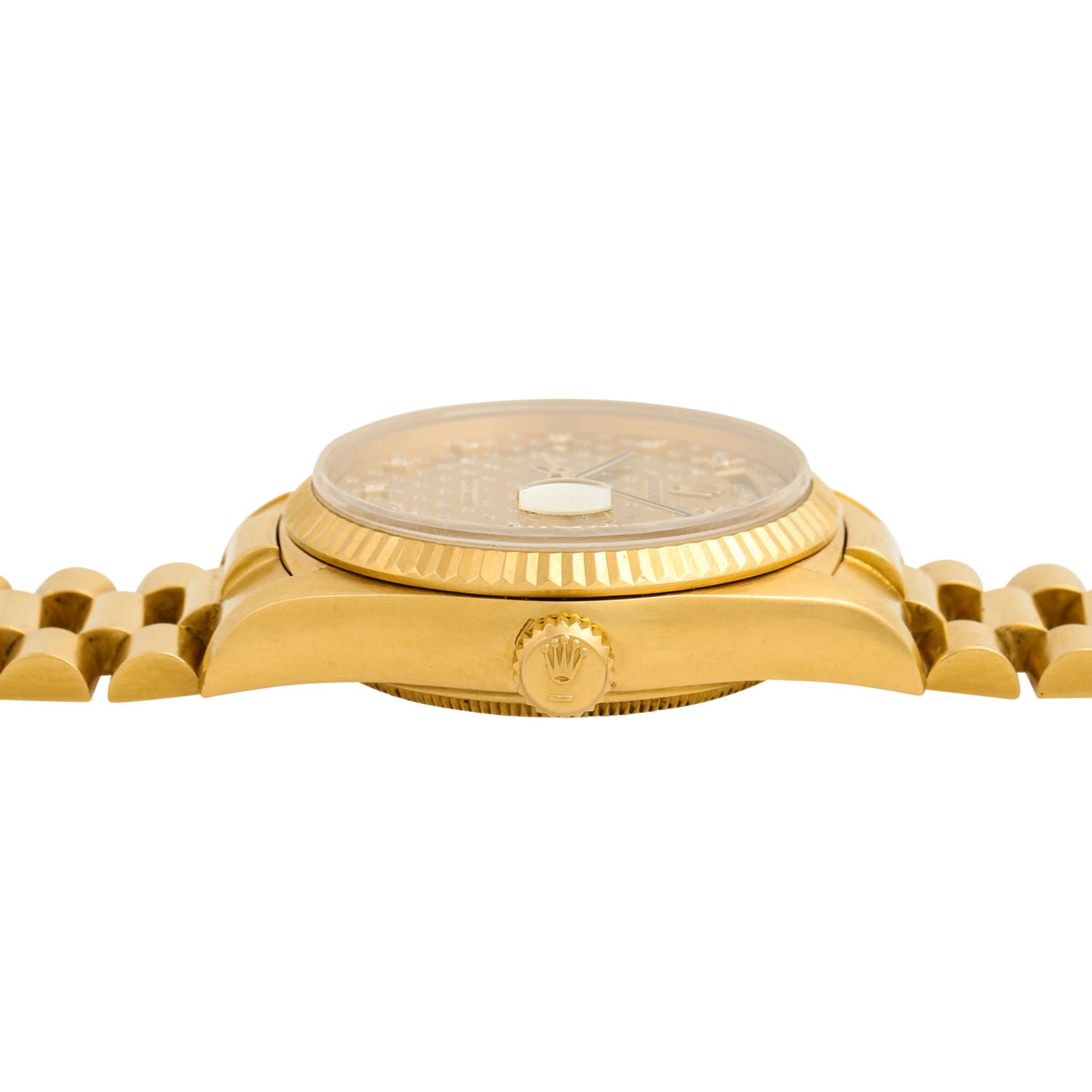 "ROLEX Vintage DayDate ""Sternenhimmel"", Ref. 18038. Armbanduhr. Gold 18K, Ziffernblatt - Image 3 of 8"