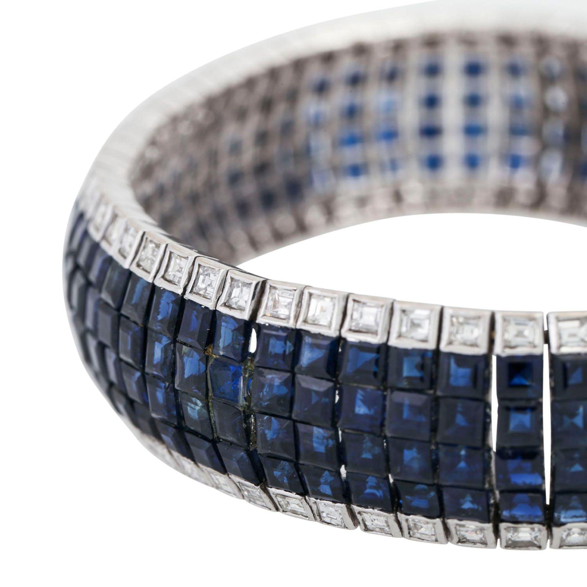 Armband mit Saphiren und Diamanten, im Baguetteschliff von zus. ca. 6 ct, mittlere bis - Image 5 of 7