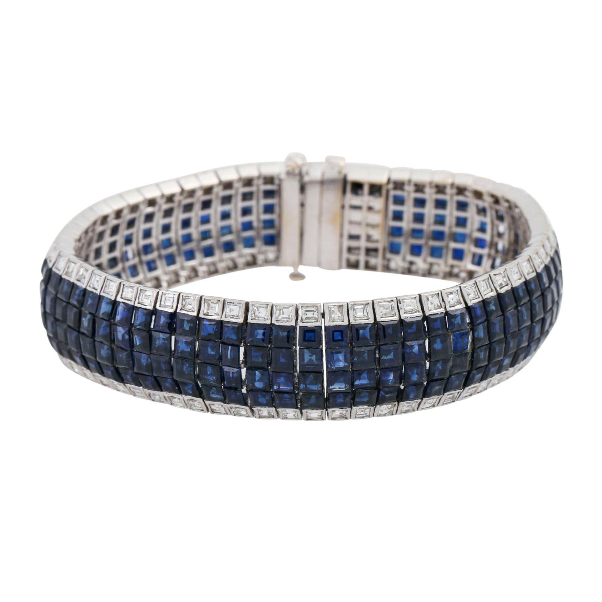 Armband mit Saphiren und Diamanten, im Baguetteschliff von zus. ca. 6 ct, mittlere bis