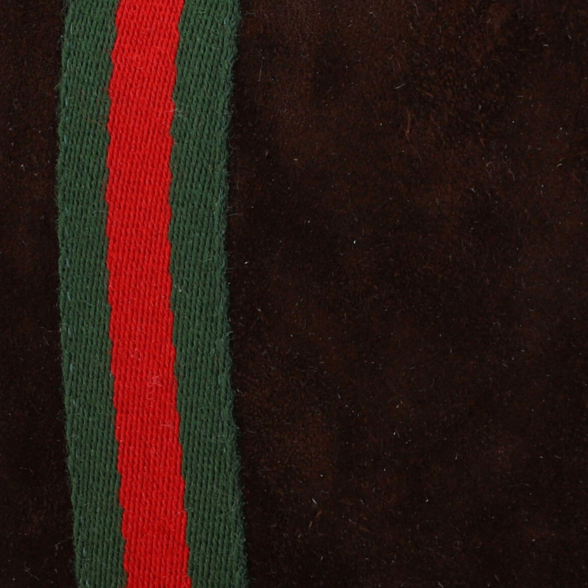 GUCCI PARFUMS VINTAGE Umhängetasche.Wildleder in Dunkelbraun mit Details aus Glattled - Image 8 of 8