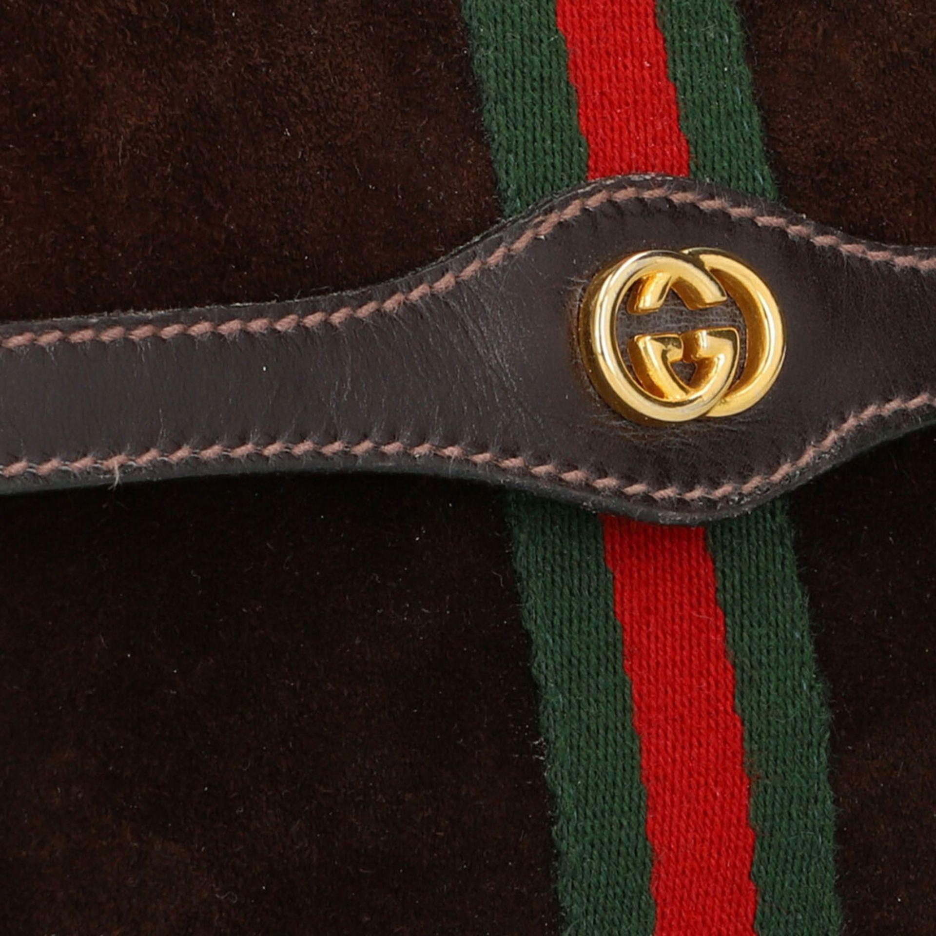 GUCCI PARFUMS VINTAGE Umhängetasche.Wildleder in Dunkelbraun mit Details aus Glattled - Image 7 of 8