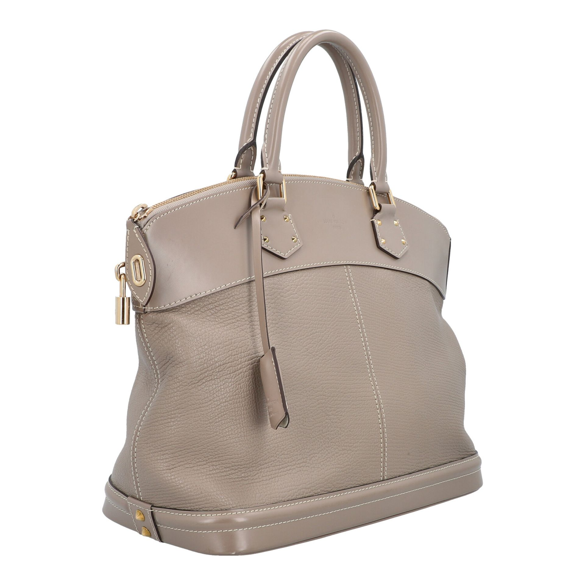 "LOUIS VUITTON Henkeltasche ""LOCK IT GM"", Koll.: 2007. Modell aus taupefarbenem Suhali- - Image 2 of 8"