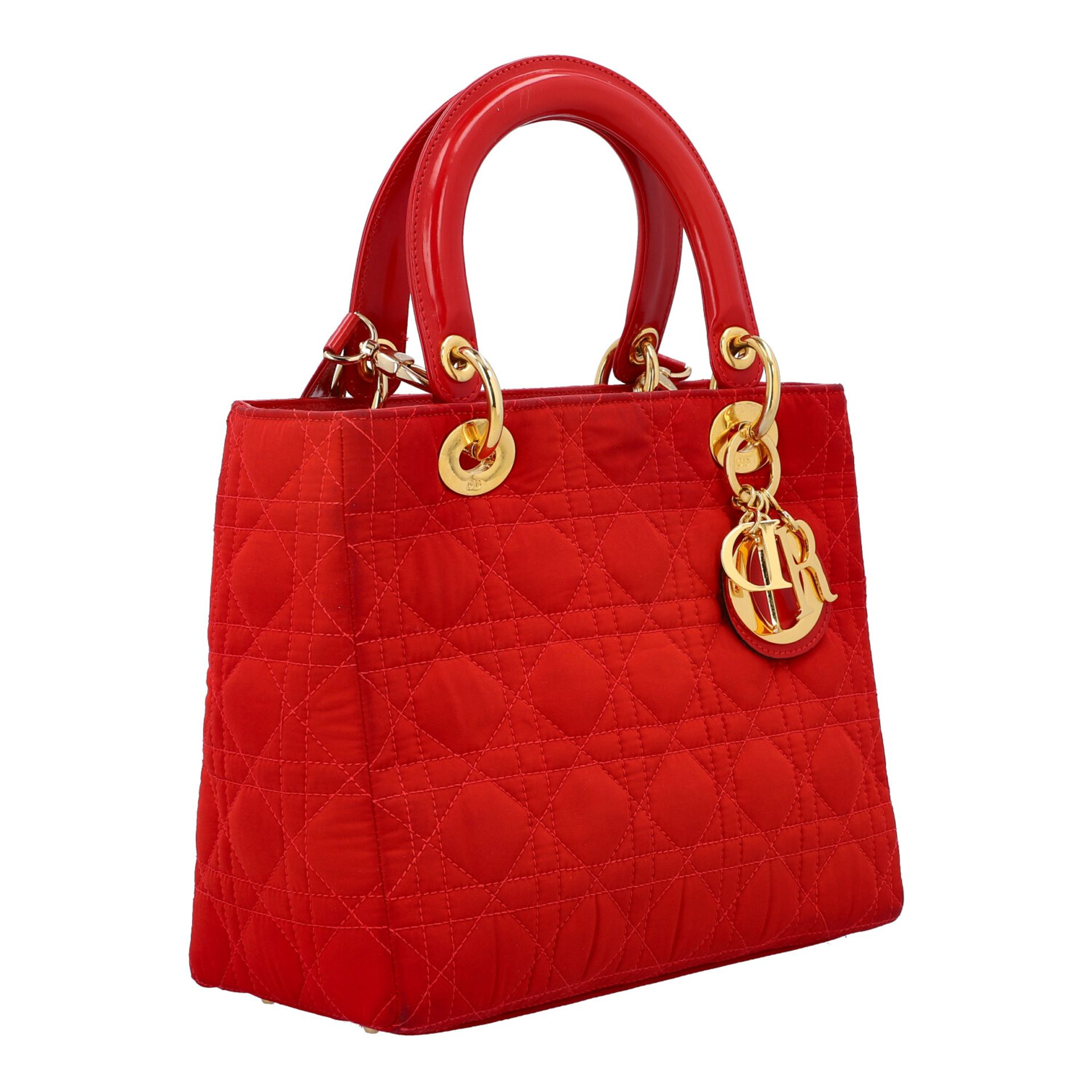 """CHRISTIAN DIOR Henkeltasche """"LADY DIOR"""", Koll.: 1997. Textil in Rot mit Cannage Steppu - Image 2 of 8"""