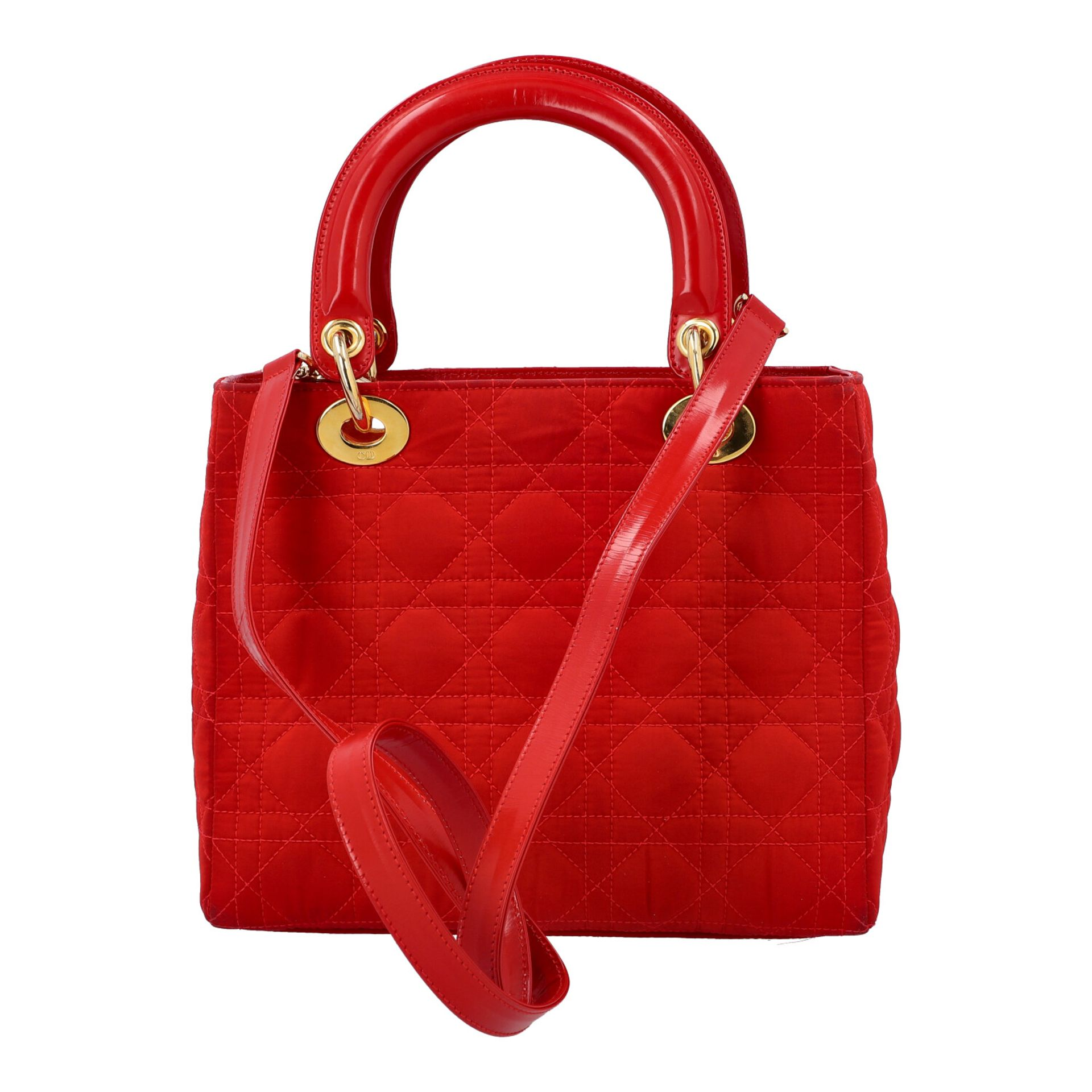 """CHRISTIAN DIOR Henkeltasche """"LADY DIOR"""", Koll.: 1997. Textil in Rot mit Cannage Steppu - Image 4 of 8"""