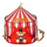 """MOSCHINO COUTURE Handtasche """"CIRCUS BAG"""", NP.: 1.100,-€. Kalbsleder in Zirkus-Zelt-D"""