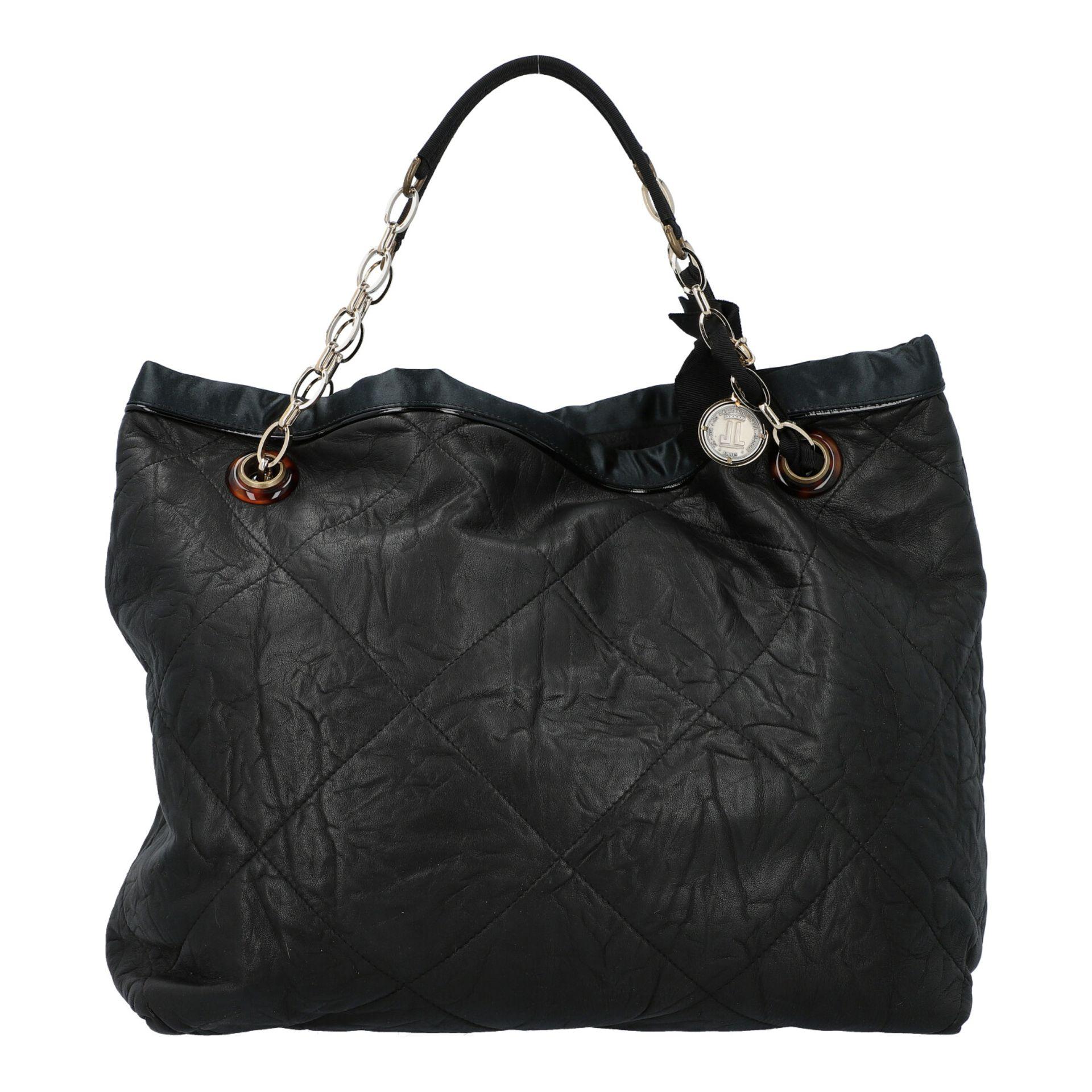 LANVIN Shoppertasche. Softes Leder in Schwarz mit Rautensteppung und dekorativen Trage