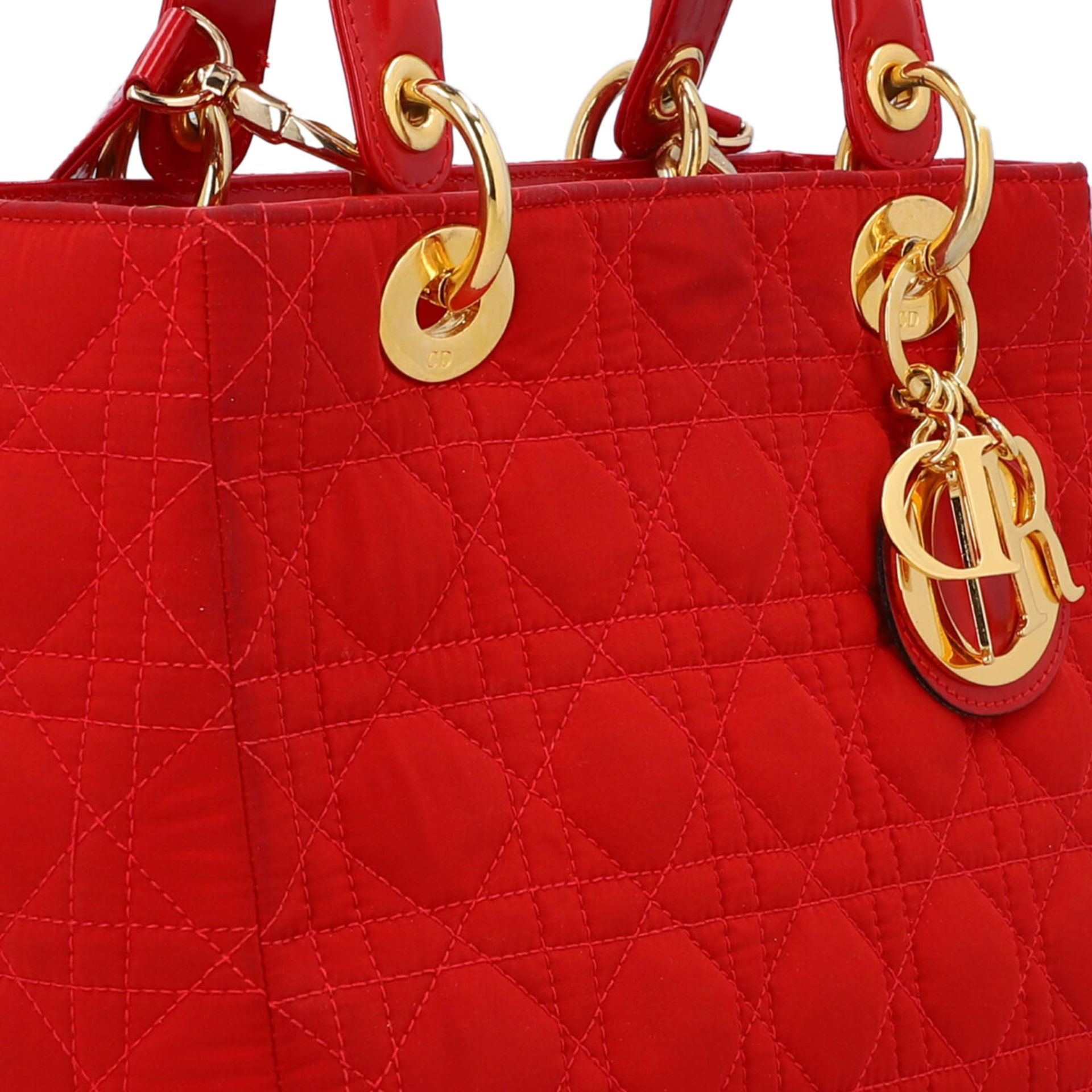 """CHRISTIAN DIOR Henkeltasche """"LADY DIOR"""", Koll.: 1997. Textil in Rot mit Cannage Steppu - Image 8 of 8"""