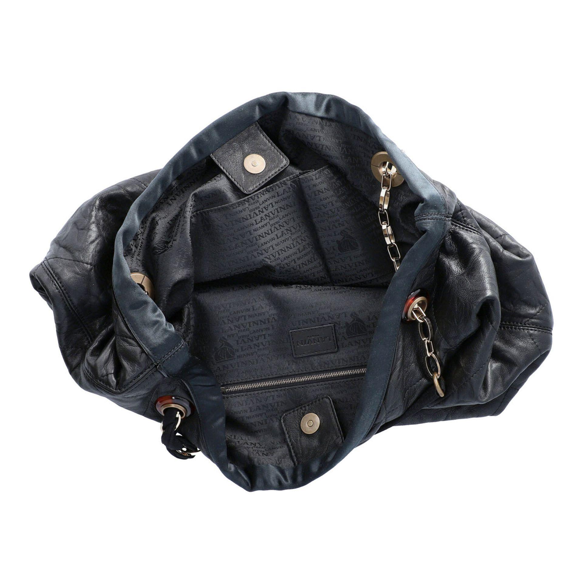 LANVIN Shoppertasche. Softes Leder in Schwarz mit Rautensteppung und dekorativen Trage - Image 6 of 8