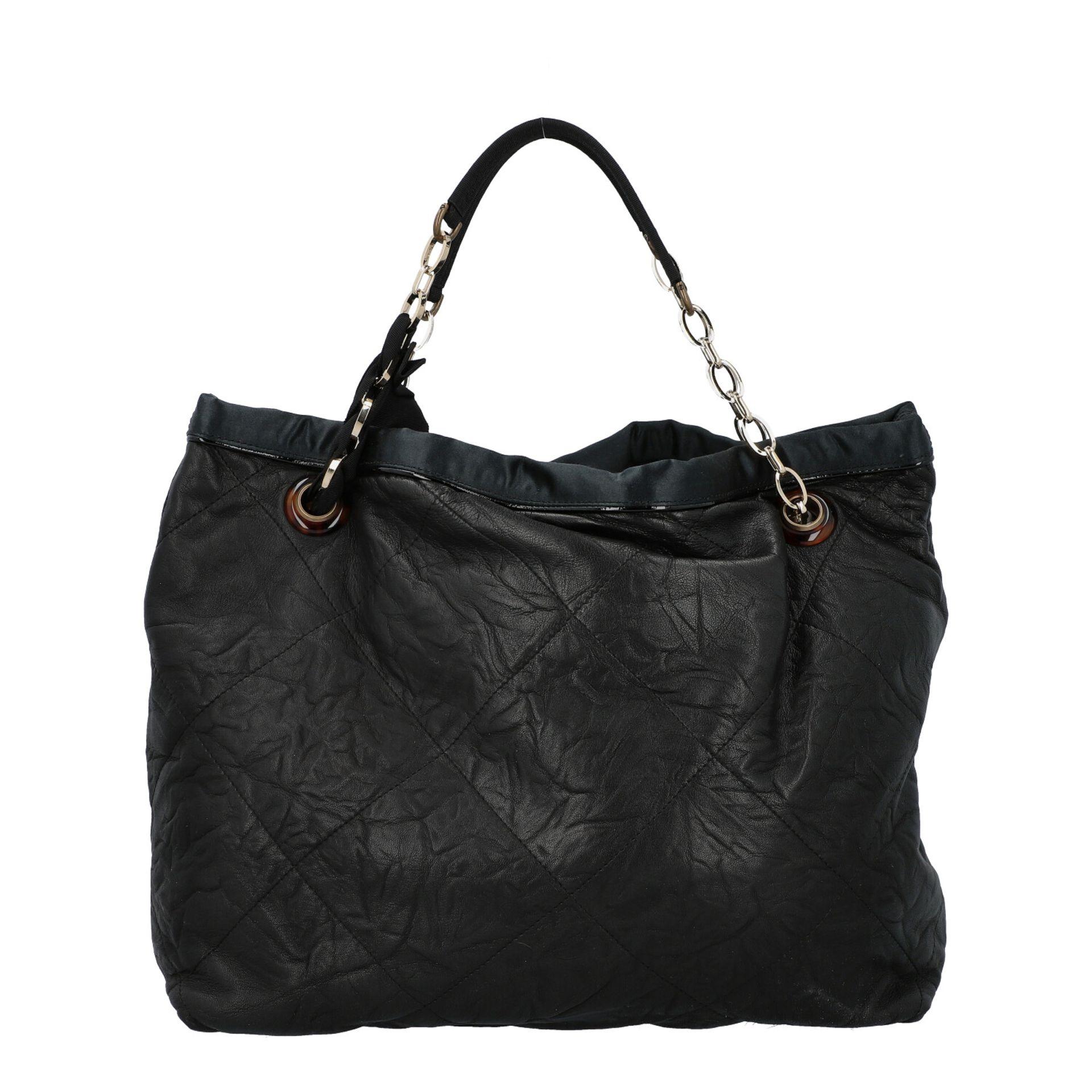 LANVIN Shoppertasche. Softes Leder in Schwarz mit Rautensteppung und dekorativen Trage - Image 4 of 8