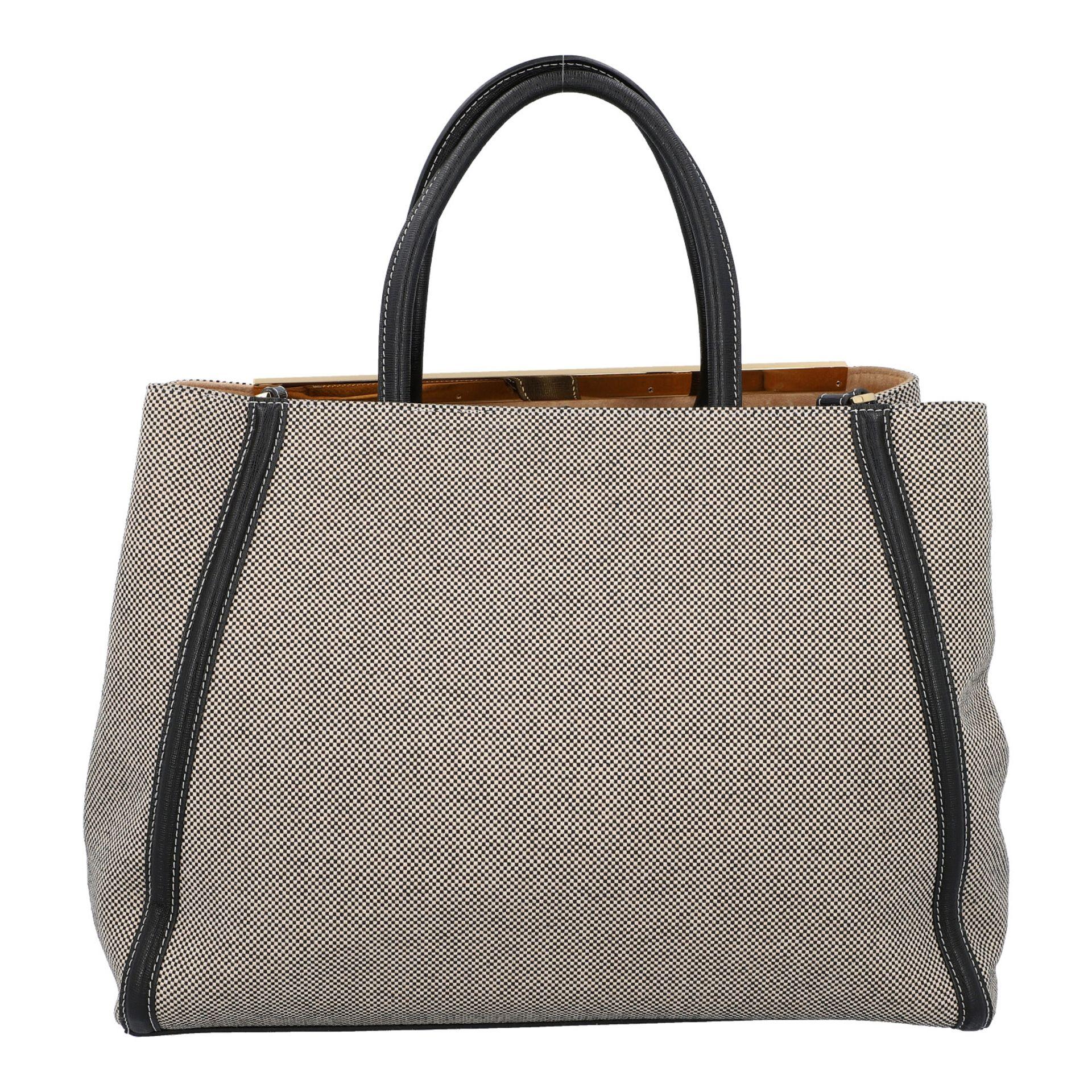 FENDI Handtasche, NP. ca.: 1.900,-€. Gewebtes Textil in Schwarz/Weiß mit schwarzem - Image 4 of 8
