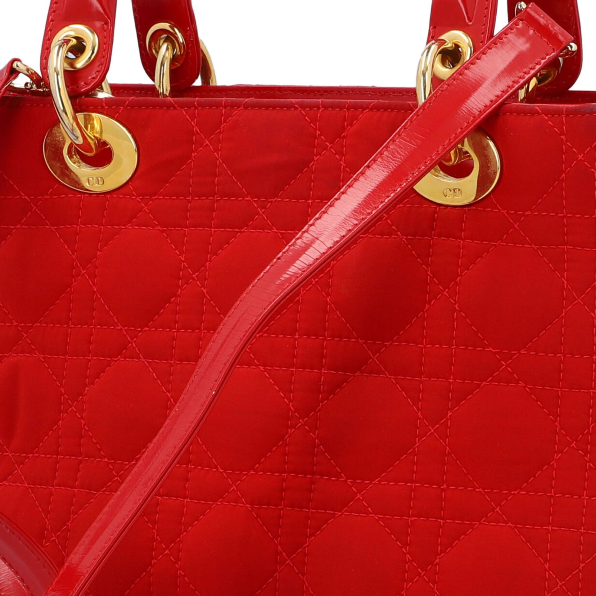 """CHRISTIAN DIOR Henkeltasche """"LADY DIOR"""", Koll.: 1997. Textil in Rot mit Cannage Steppu - Image 7 of 8"""
