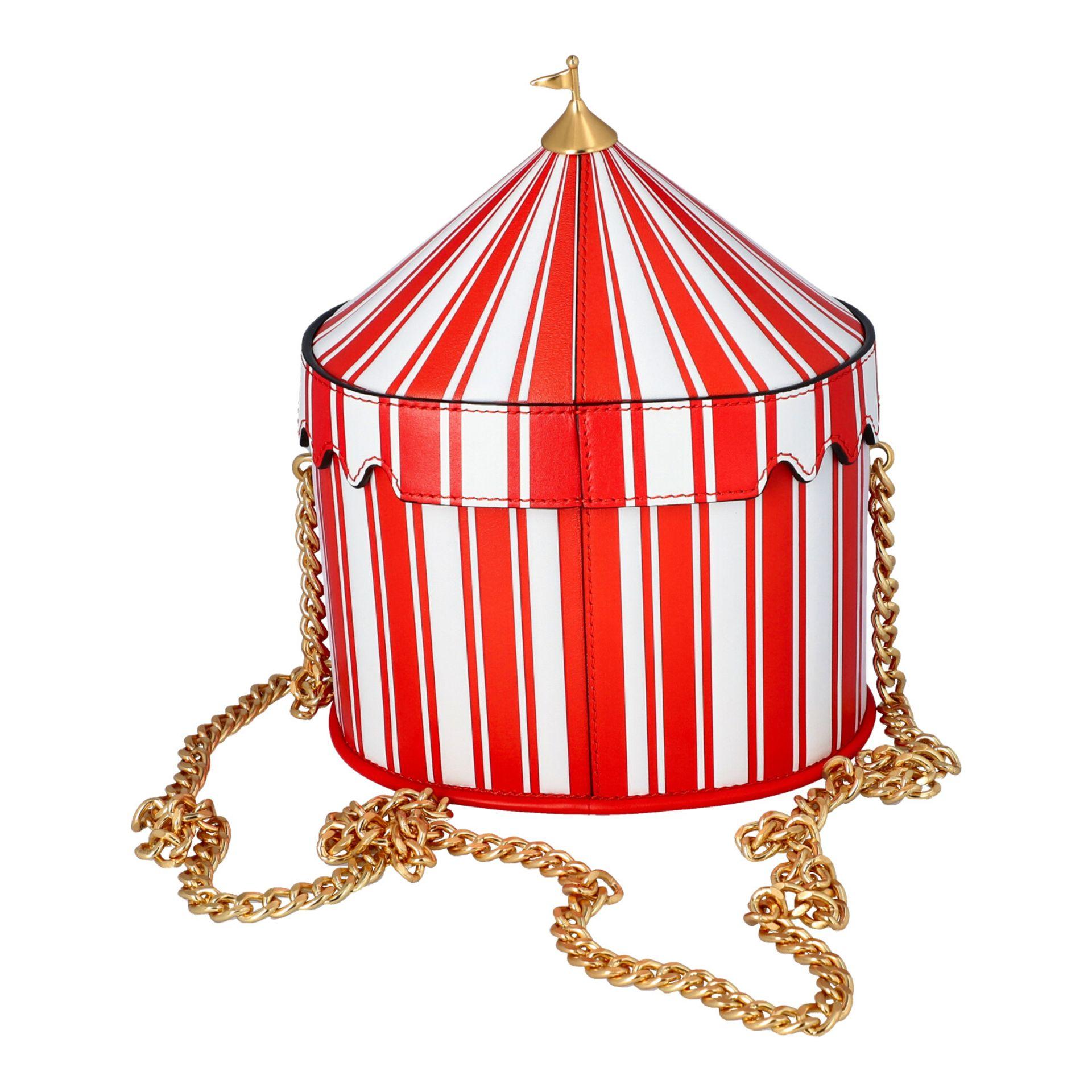 """MOSCHINO COUTURE Handtasche """"CIRCUS BAG"""", NP.: 1.100,-€. Kalbsleder in Zirkus-Zelt-D - Image 4 of 7"""