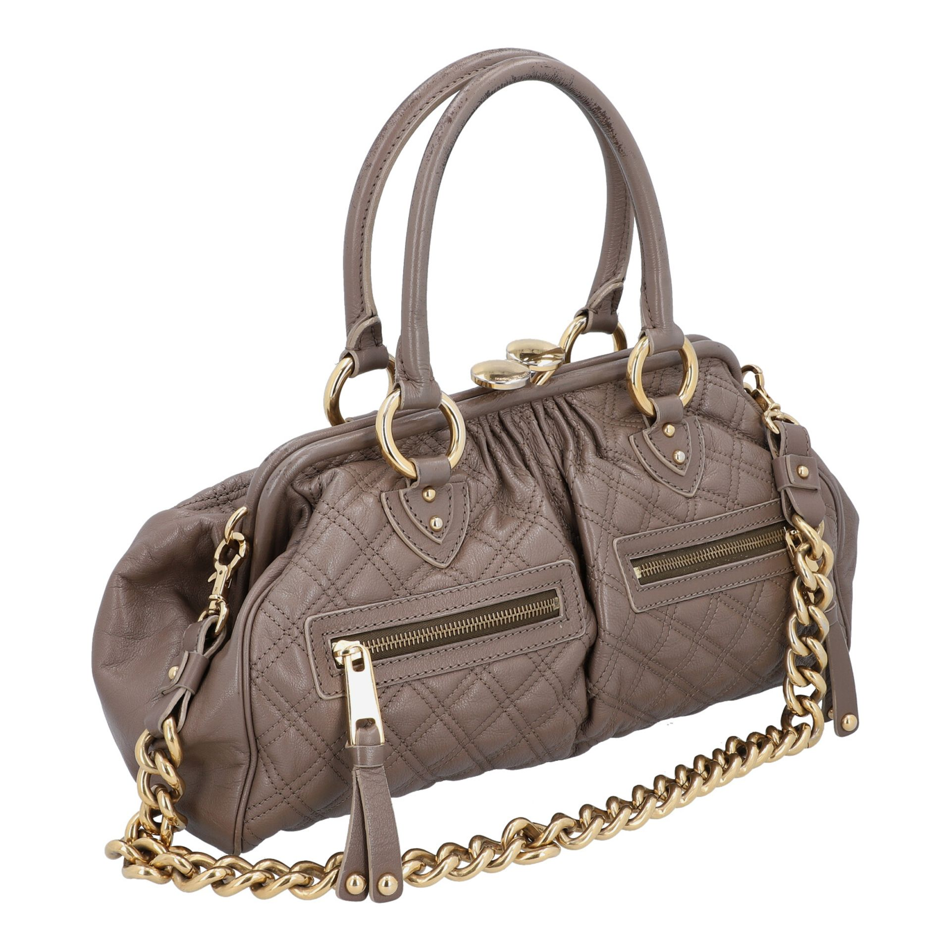 MARC JACOBS Handtasche. Leder in Elefantengrau mit goldfarbener Hardware und Rautenste - Image 2 of 8