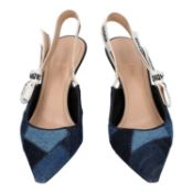 CHRISTIAN DIOR Slingback-Pumps, Gr. 39,5. NP. ca.: 770,-€. Modell in Blauem Denimust