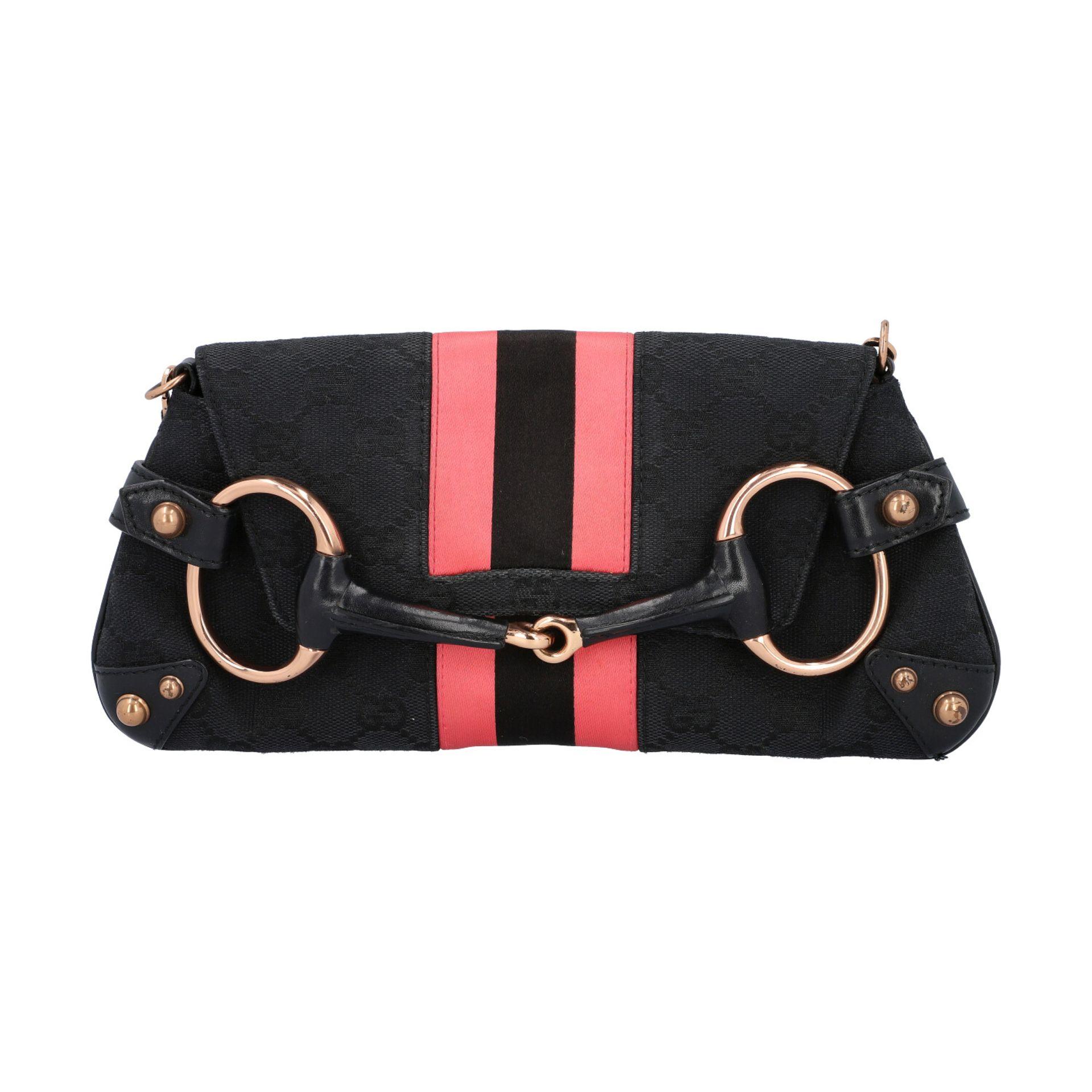 GUCCI Pochette. Guccissima Webmuster in Schwarz mit rosafarbenen Streifen und roségol