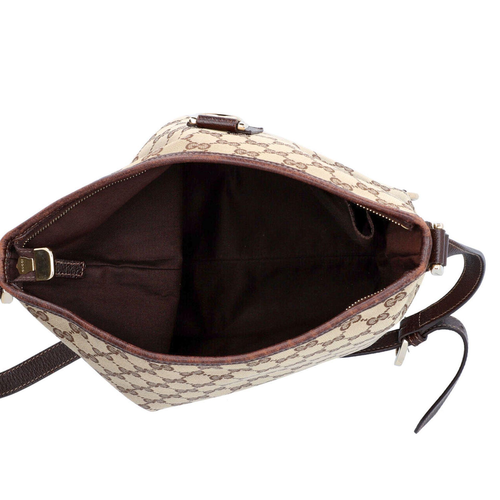 GUCCI Handtasche. Guccissima Design auf Textil in Beige und Braun, braunfarbene Leder- - Image 6 of 8