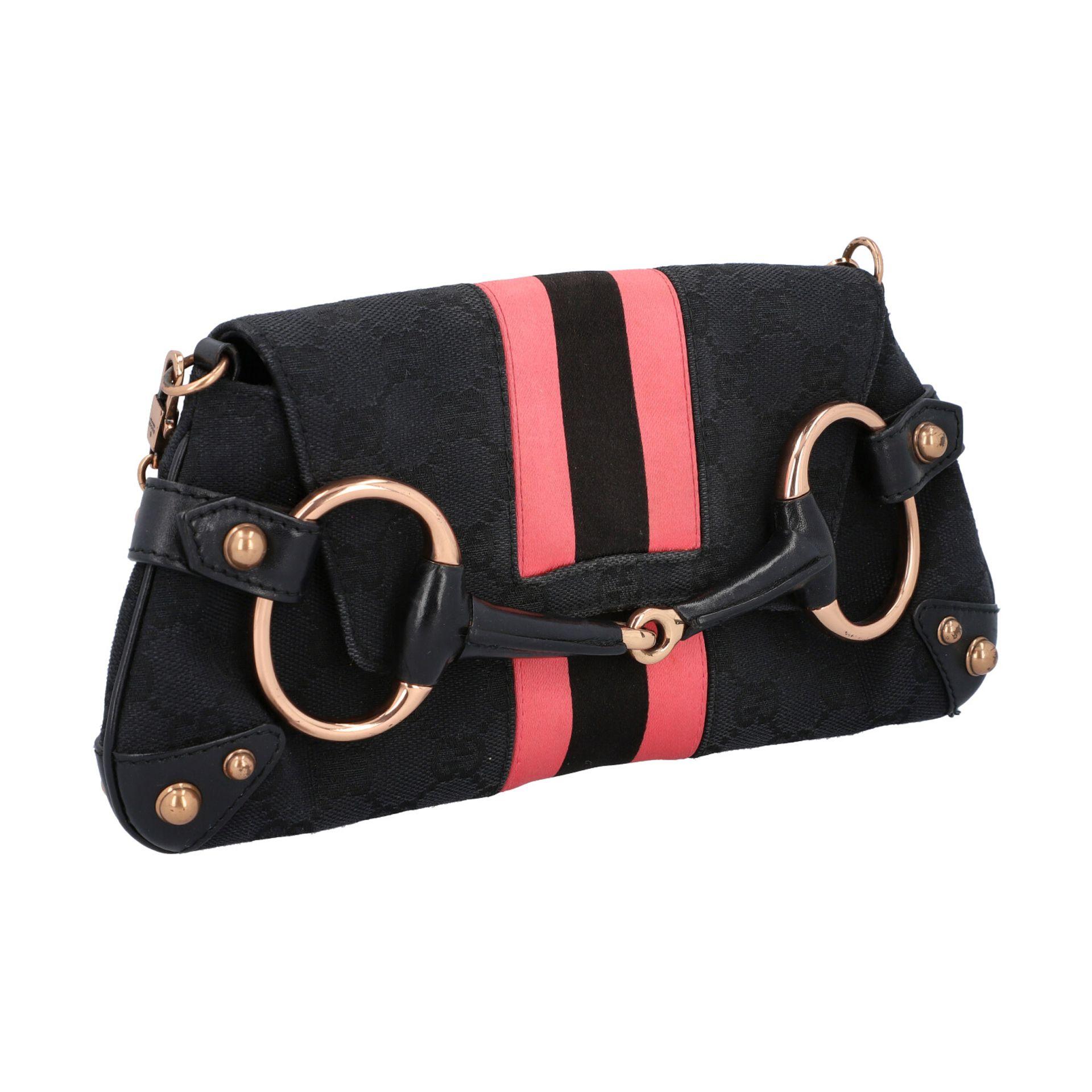 GUCCI Pochette. Guccissima Webmuster in Schwarz mit rosafarbenen Streifen und roségol - Image 2 of 8