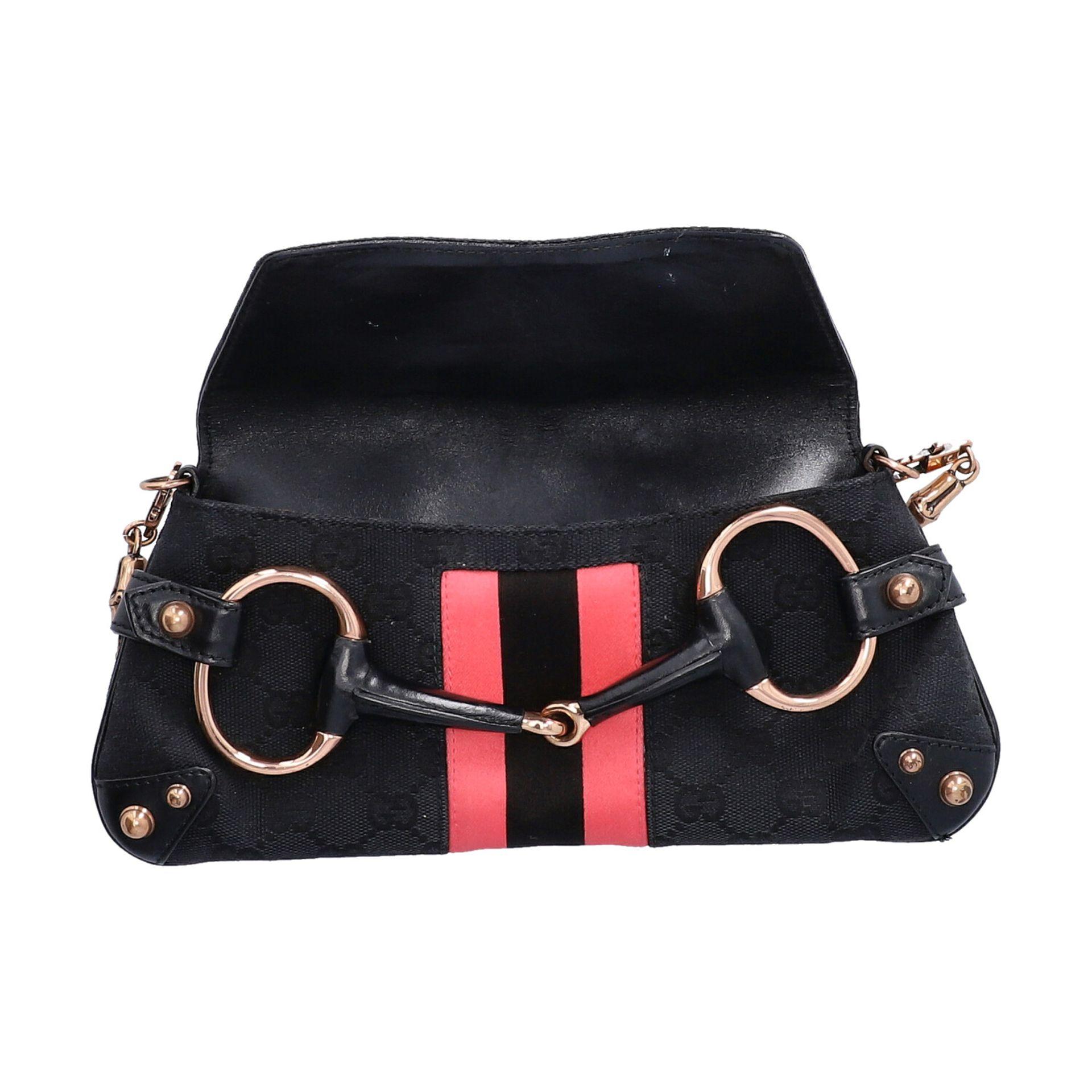 GUCCI Pochette. Guccissima Webmuster in Schwarz mit rosafarbenen Streifen und roségol - Image 6 of 8