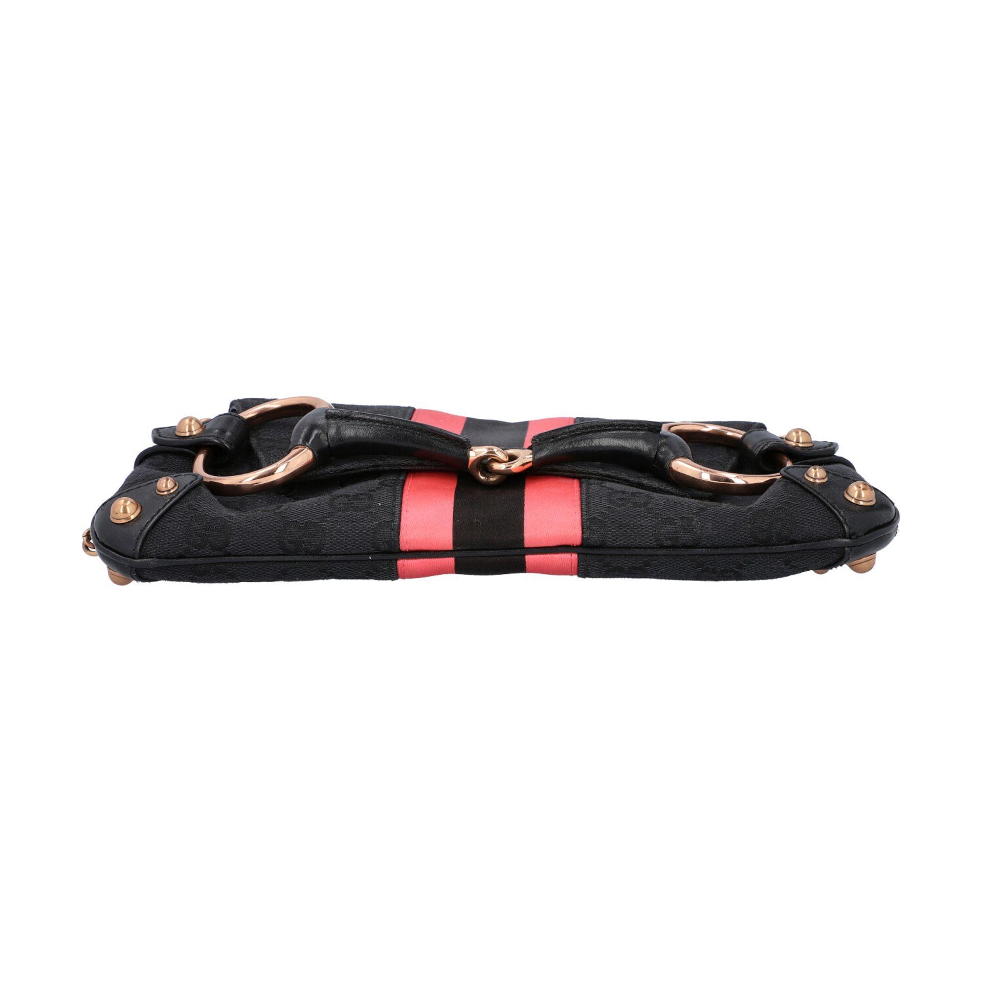 GUCCI Pochette. Guccissima Webmuster in Schwarz mit rosafarbenen Streifen und roségol - Image 5 of 8