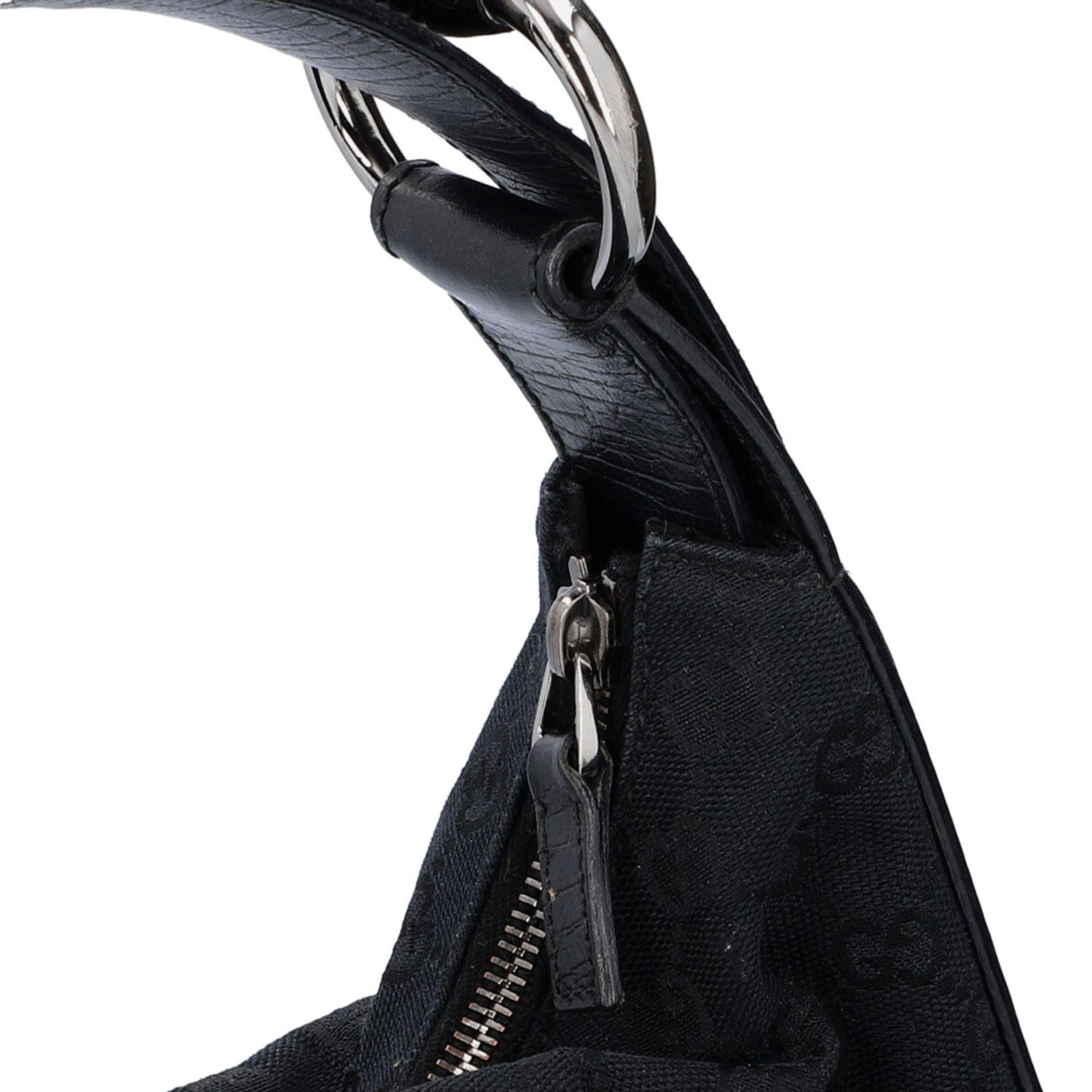 GUCCI Handtasche. Guccissima Design auf schwarzem Textil mit silberfarbener Hardware, - Image 8 of 8